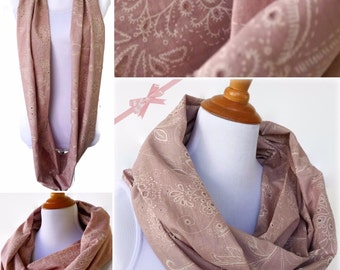Pink Infinity Scarf, Fashion Scarf, Summer Scarf, Women's Scarf, Loop Boho Scarf, Cotton Scarf, Circle Scarves, Gift For Her