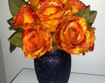 Black vase, glamorous vase, wedding centerpiece, gothic vase, chic vase,  sparkly vase, gothic style centerpiece wedding vase glass vase