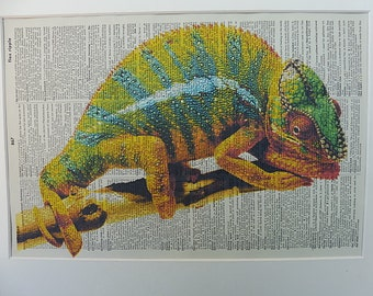 Chameleon Art Print No.383, the chameleon, karma, karma chameleon, chameleon poster, reptile decor, reptile poster, reptiles