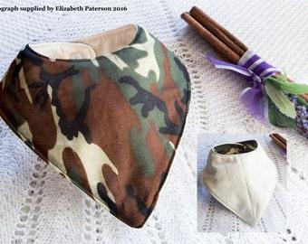 Camouflage Dribble Bib on Cream Backing