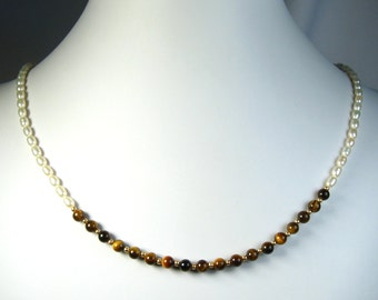 """Freshwater Pearl and Tiger's Eye Necklace Gold 18"""""""