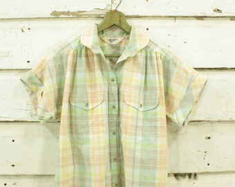 vintage 1980s rainbow pastel plaid blouse S M