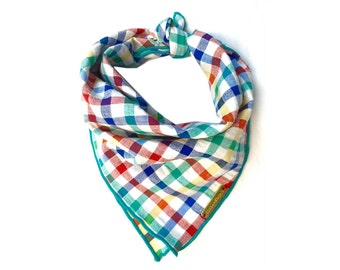 THE TUSTI Dog Bandana: Bright Multi Colored Checkered Gingham Dog Bandana Sizes Xs, s, m, l, xl