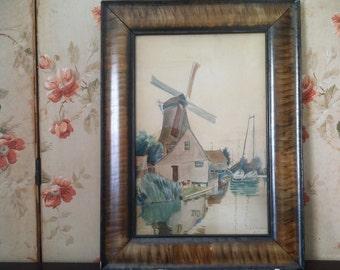 1907 Dutch Windmill Watercolor • E.D. Pember