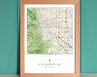 My Home in the Center Personalized Framed Map