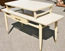 Vintage mid century modern blonde Formica Sofa Table side atomic retro peg leg