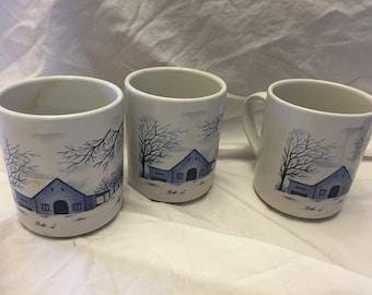 Lot of 3 Winter scene barn coffee cups mugs in blue