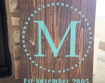 Monogram Pallet Sign - Wedding Sign - Established Sign