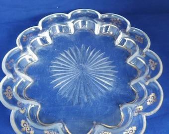 Fluted edge shallow dish with gilt edge