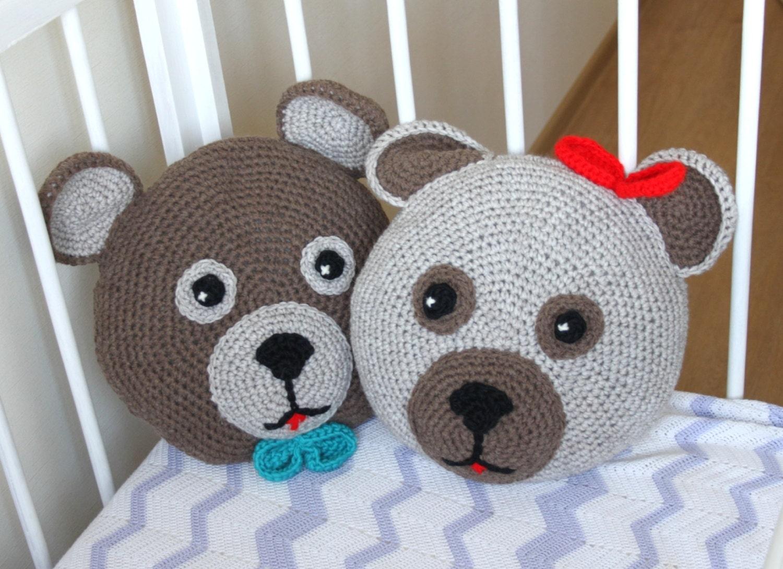 Round Animal Pillows : Crochet teddy bear pillows / round pillows / baby pillow