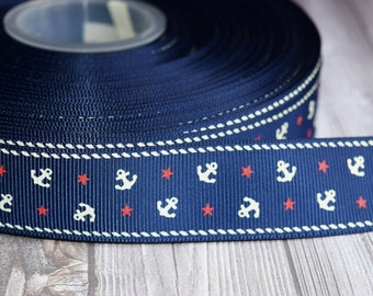 "Nautical ribbon - Navy white red - Anchors and stars - 1"" grosgrain ribbon - 3 or 5 yard lot -Nautical colors - By the sea - Out to sea"