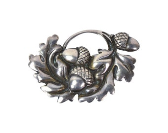 Viking Craft Arts and Crafts Sterling Silver Acorn & Oak Leaf Brooch 1944