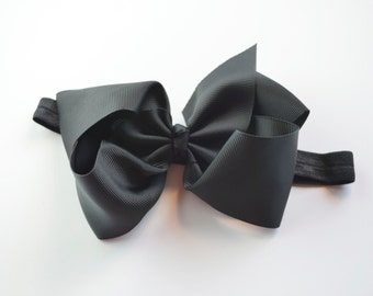 black bow headband, baby girl black headband, baby girl bow, baby headband, black hair bow, baby girl gift,