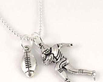 Football Mom necklace, football necklace, football player necklace, football charm, running back, quarterback,  personalize it, gift for her