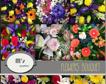 Flower Bouquet. 9 Digital Papers, Backgrounds for: wallpaper, stickers, scrapbooking and more.