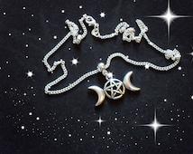 Triple Moon Necklace/Wiccan Necklace/Pagan Necklace/Wiccan And Pagan Jewelry/Pendants/Necklaces/Silver Necklace/Pentagram Pendant/Pentagrams