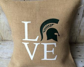 Michigan State Burlap Pillow- Michigan State University- MSU- Michigan State Pillow- Michigan State University Home- MSU Love