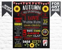 Printable Sunflower 1st Birthday chalkboard sign first picknick chalk board milestone poster (240)