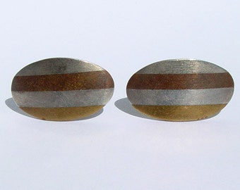 Vintage Mexican Sterling Silver Copper Brass Mixed Metal Oval Cufflinks Mexico