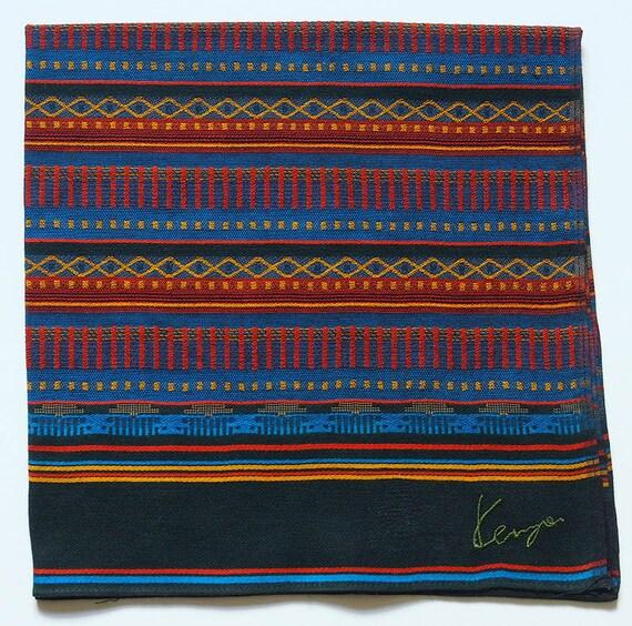 Vintage Kenzo Paris Signature Logo Cotton Weave Handkerchief Pocket Square