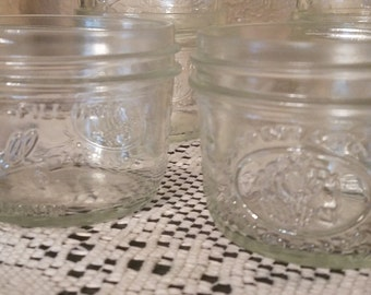 Set of 6 Vintage Clear 1/2 Cup Ball Canning Jars for Freezing