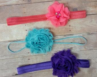Headband Set, Shabby Headband, Baby Shower Gift, Headbands For Baby Girl, Purple headband, Girl Headband Baby, Coral Headband, Aqua Headband