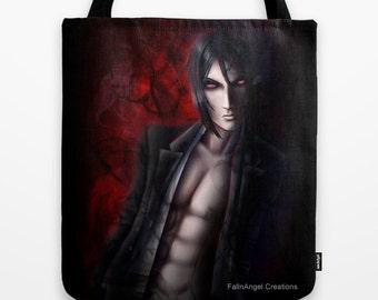 Black Butler Sebastian Michaelis Tote Bag, Devil's Day, 3 Sizes Available