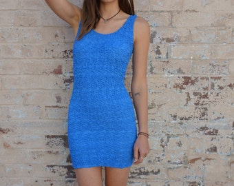 Vintage 80s Blue Rouch Silk Stretch Mini Dress