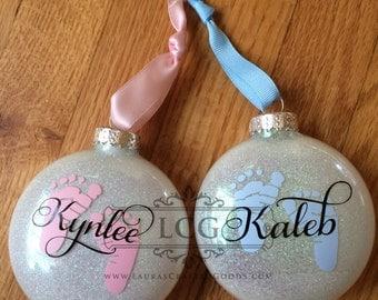 Baby's First Christmas, Glass Christmas Ornament, Personalized Baby Ornament, Christmas Ornament, Baby's Christmas Ornament,
