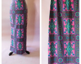 Vintage High waisted Skirt, Retro Vintage Fabric, Maxi Skirt, Mod 60s, Psychedelic, Pink Purple Turquoise, Geometric Boho Hippie Chic