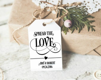 SET OF 24 Custom Spread the love FAvor tags. Wedding CUSTOM Spread the love Tags, Metallic Favor tags, elegant favor tags. Shimmery tags