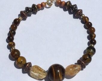 Men- Fire Agate, Citrine & Tigers Eye Bracelet