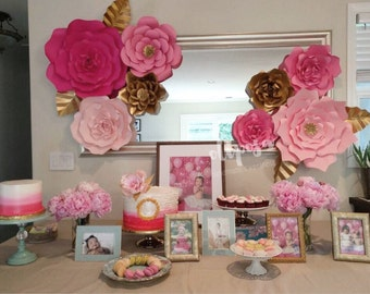8 pc Giant Paper Flowers, Customize your colors, backdrop, candy buffet, decor, nursery
