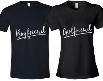 Girlfriend & Boyfriend Set of 2 Couple T-shirts, Set of 2 Couple Shirts 100% cotton Tee, Valentine's Day Gift