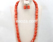 Long Natural Coral beads 1 layer African Nigerian Wedding Party Bridal Jewelry Set  natural coral colour