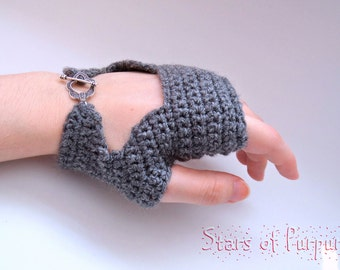 Lady Mittens Vintage Style - Biker Mitts Model - Gloves, Gray