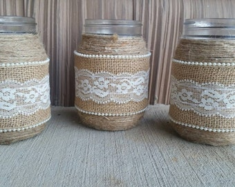 Burlap Mason Jar, Burlap and Lace Mason Jar,Rustic Mason Jar, Rustic Wedding