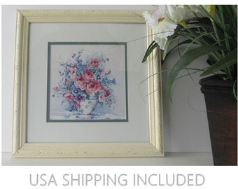Barbara Mock Framed Print of Flowers in a Blue and White Vase