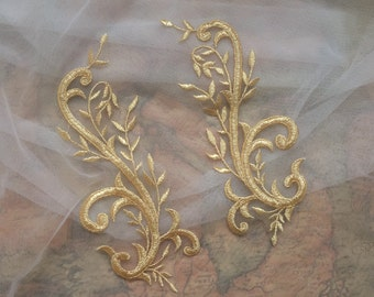 Gold Lace Embroidery Patch ,Lace Motif for Gold Wedding Evening Dress ,Gold Lace DIY Material one pair