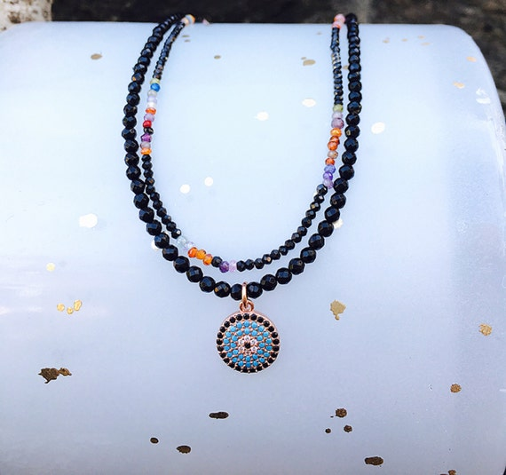 Pave Evil Eye Pendant & Black Onyx