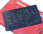 Custom Etched Metal Card - Your Handwriting - Gift for Wife - Personalized Wallet Insert - Durable, Image, Text, Handwritten