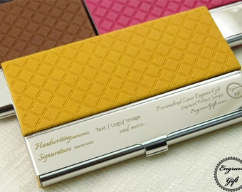 Personalized Business Card Holder in Text, Handwriting, Logo Laser Engraved Rhomb Pattern, 6 colors available