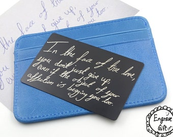 Personalized Custom Your Handwriting Steel Wallet Insert Card Custom Real Handwritten Autograph, Signuature, Your Kids Doodle