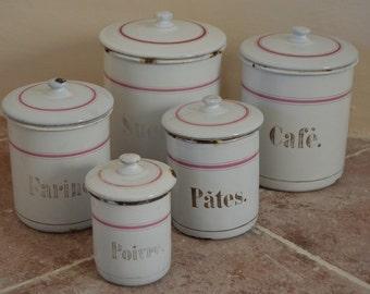 Set of 5 Lovely French Vintage Enamel Kitchen Canisters, Enamelware,French Enamel,Vintage Enamel, Old