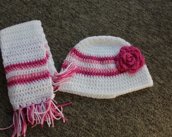 White and Pink Hat and Scarf Set, Crochet Child Hat, Hat For Girls, Flowered Hat, Striped Hat and Scarf Set with Flower, scarf, winter hat