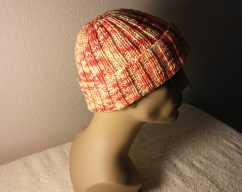 Hand Knitted Adult watch Cap in Oranges and Yellows