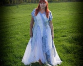 Bohemian wedding dress in white, blue & silver. RESERVED for RQ. Fairy prom dress; fairytale wedding gown. Boho beach wedding