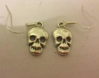 Silver skull Halloween earrings
