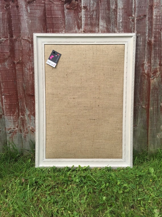 Large GREY Framed Burlap Vision Board - Burlap Push Pin Board / Hessian Notice Board / Jute Message Board / Framed Burlap Wedding Board