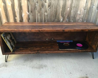 Honey honey colored  record / vinyl holder / entertainment center /tv stand /  media console. Reclaimed wood mid century mo